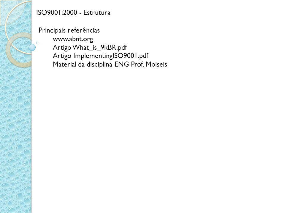 ISO9001:2000 - Estrutura Principais referências. www.abnt.org. Artigo What_is_9kBR.pdf. Artigo ImplementingISO9001.pdf.