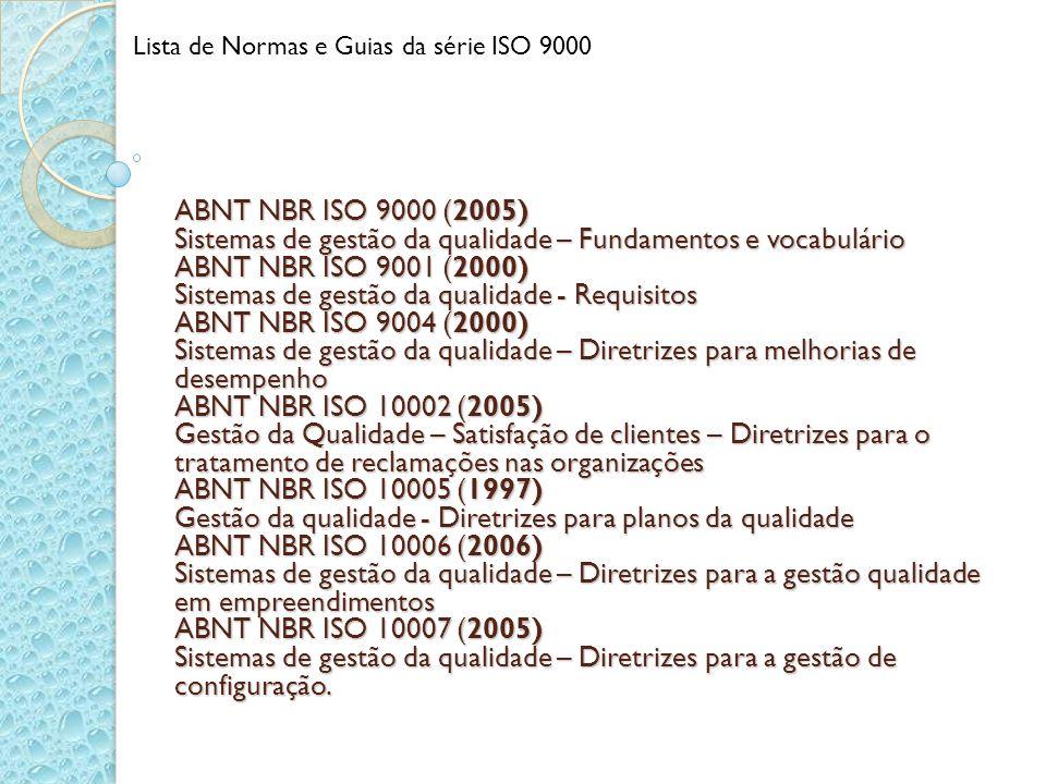 Lista de Normas e Guias da série ISO 9000