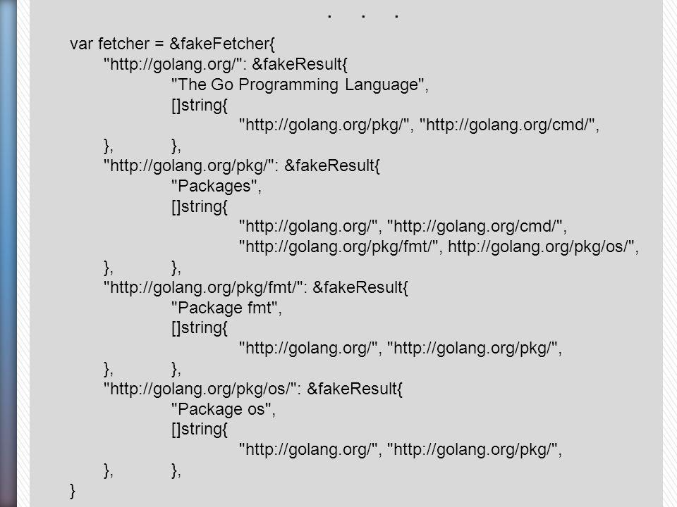 . . . var fetcher = &fakeFetcher{ http://golang.org/ : &fakeResult{ The Go Programming Language ,