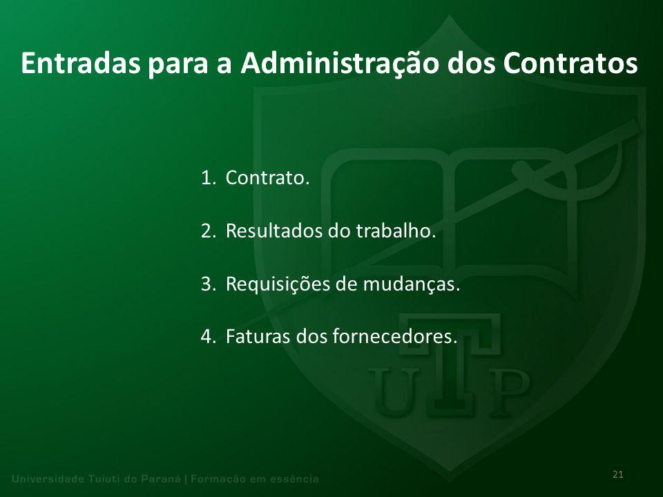 Entradas para a Administração dos Contratos