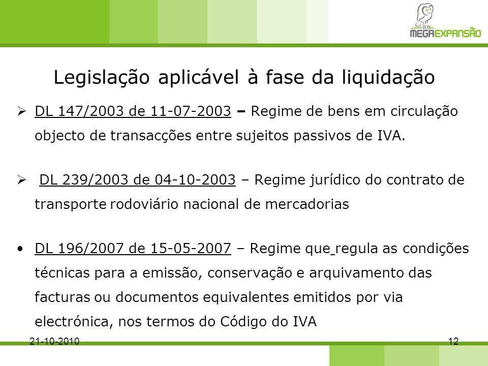 Legislação aplicável à fase da liquidação