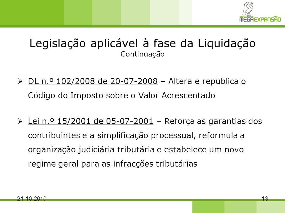 Legislação aplicável à fase da Liquidação Continuação