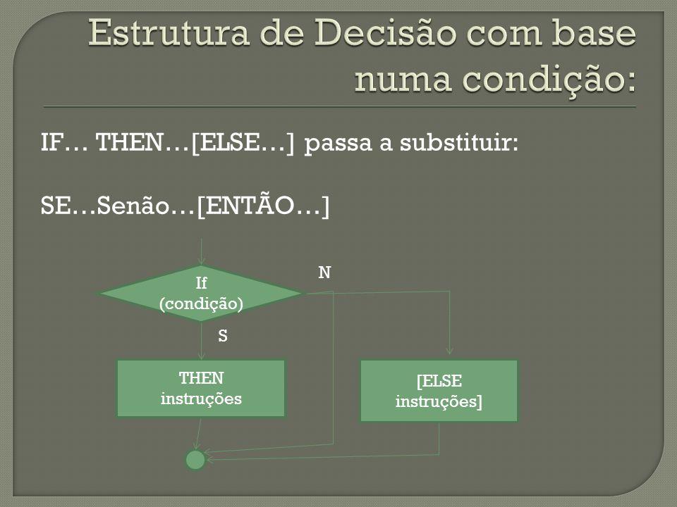 Estrutura de Decisão com base numa condição: