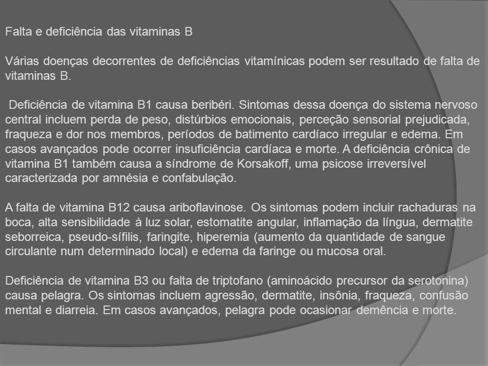 Falta e deficiência das vitaminas B