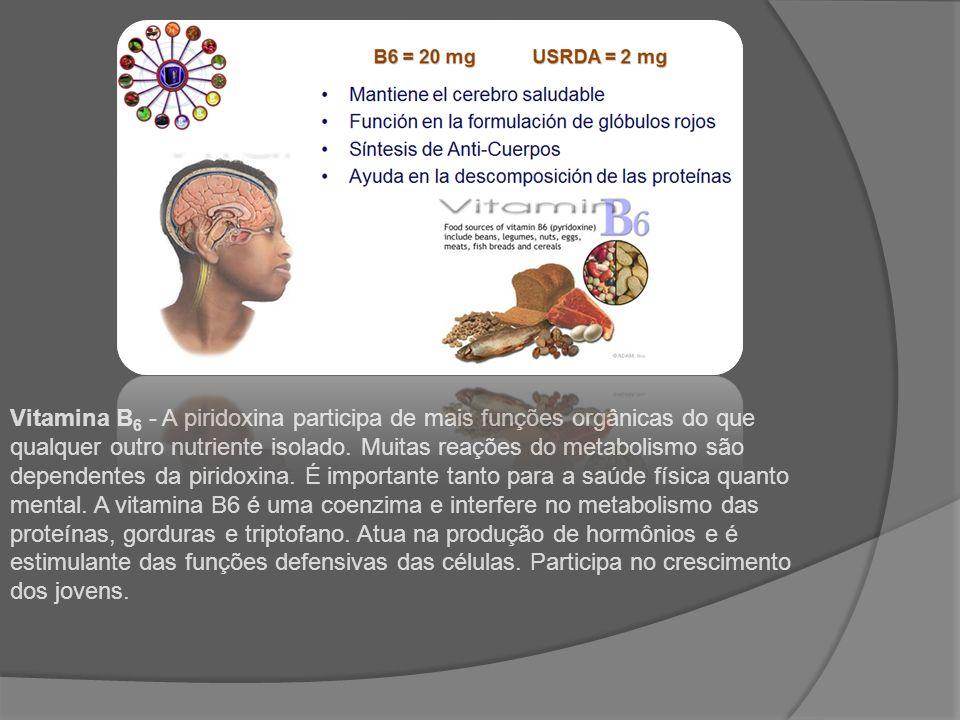 Vitamina B6 - A piridoxina participa de mais funções orgânicas do que qualquer outro nutriente isolado.