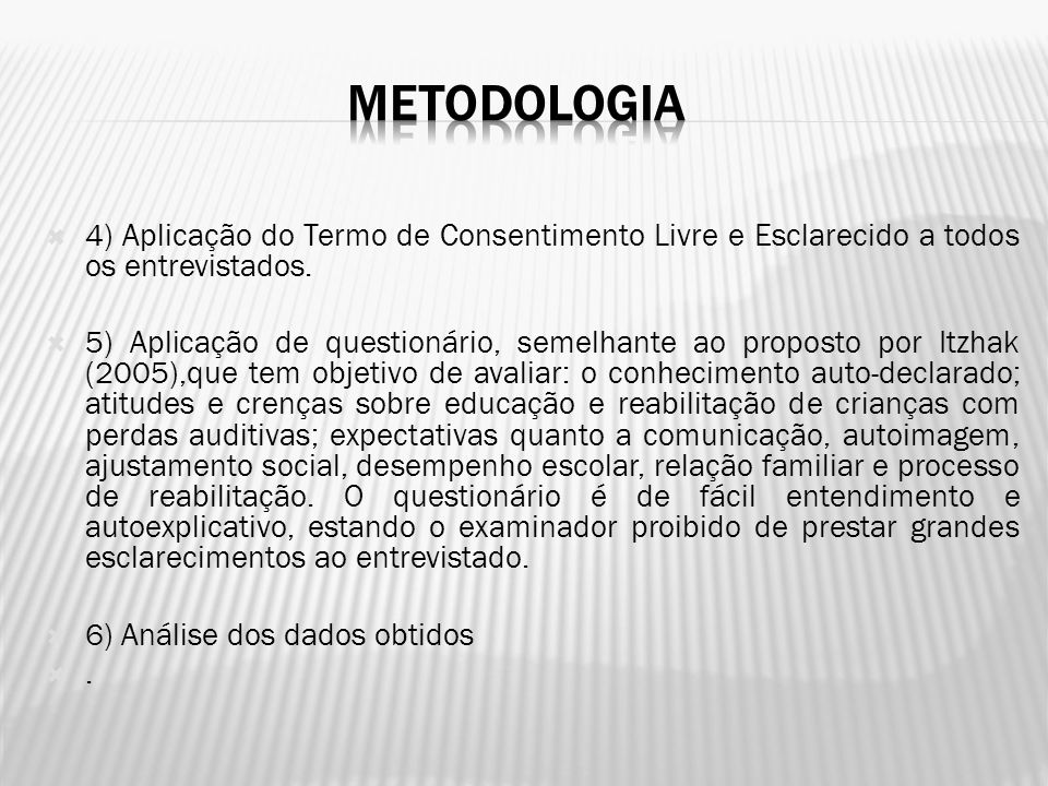 METODOLOGIA 4) Aplicação do Termo de Consentimento Livre e Esclarecido a todos os entrevistados.