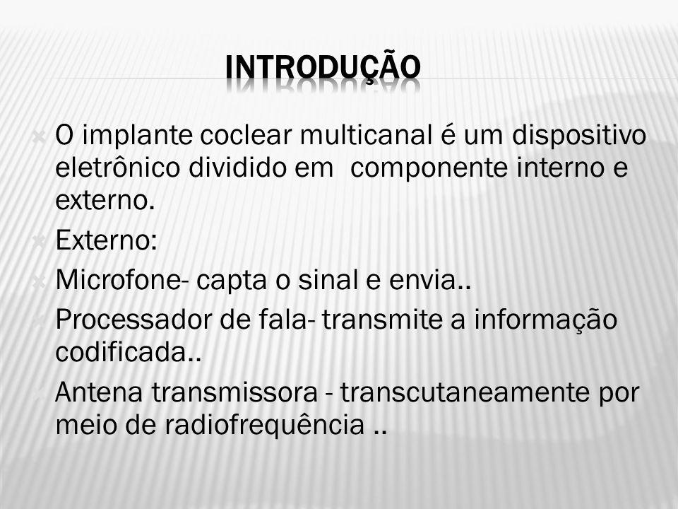 iNTRODUÇÃO O implante coclear multicanal é um dispositivo eletrônico dividido em componente interno e externo.