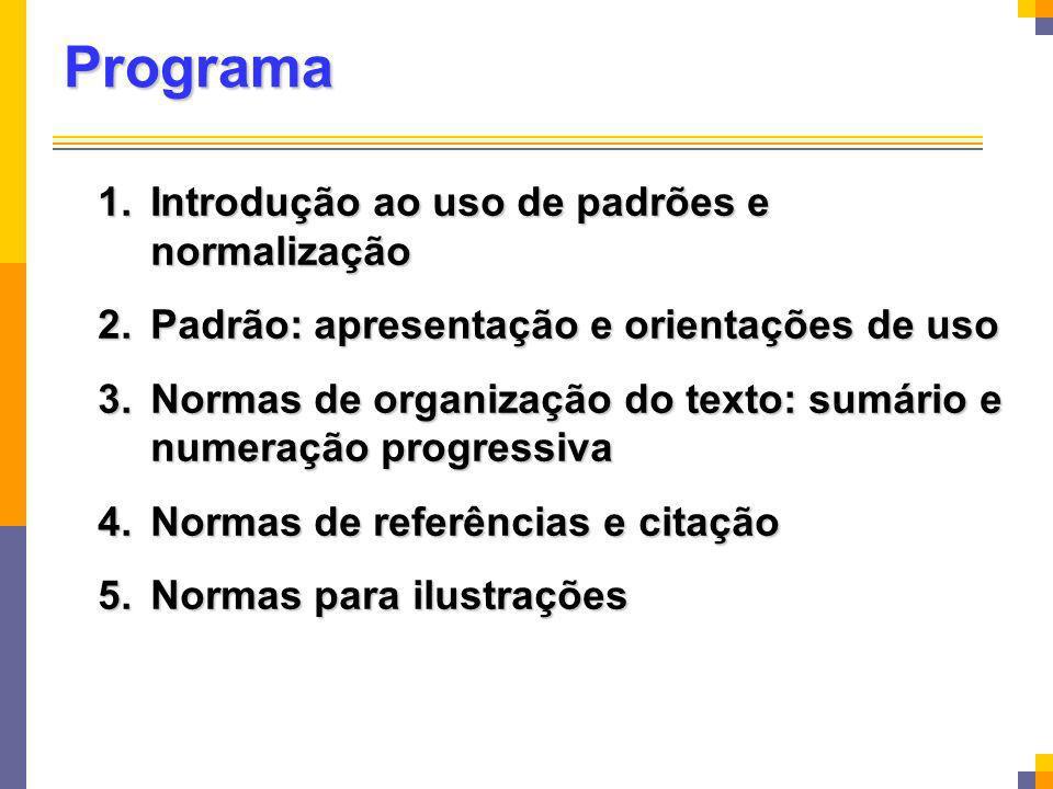 Programa Introdução ao uso de padrões e normalização