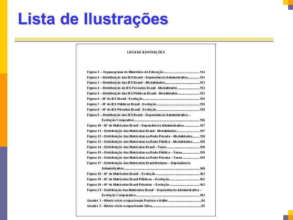 Lista de Ilustrações As ilustrações (figuras, quadros, tabelas, gráficos) devem ser numeradas na ordem em que.