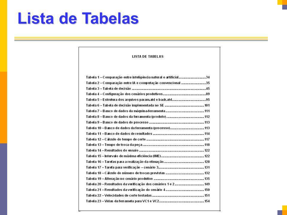 Lista de Tabelas Elemento opcional