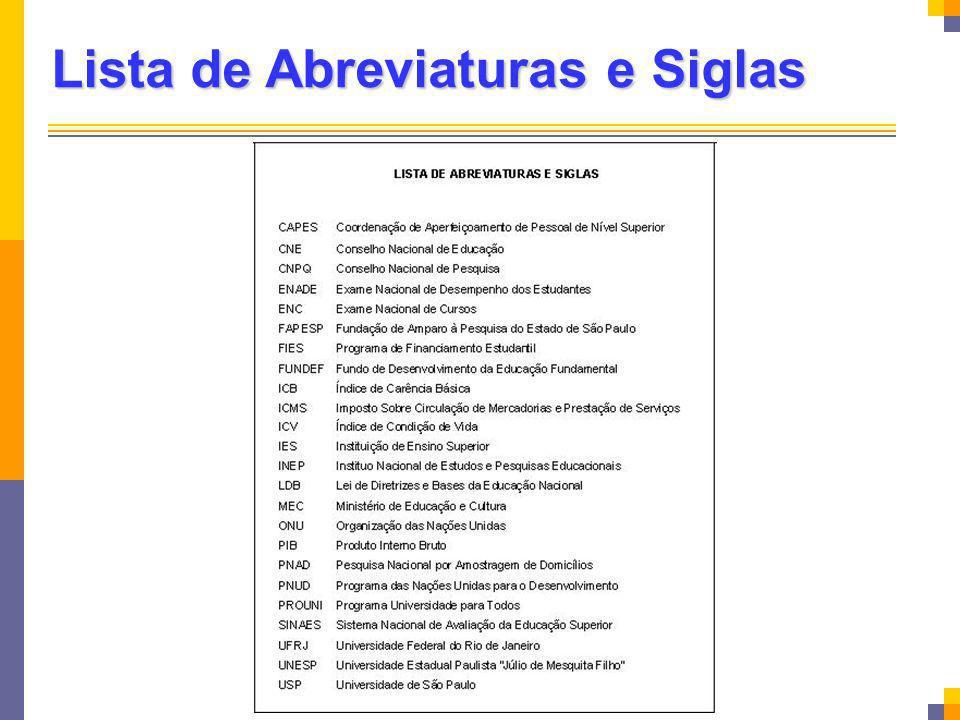 Lista de Abreviaturas e Siglas