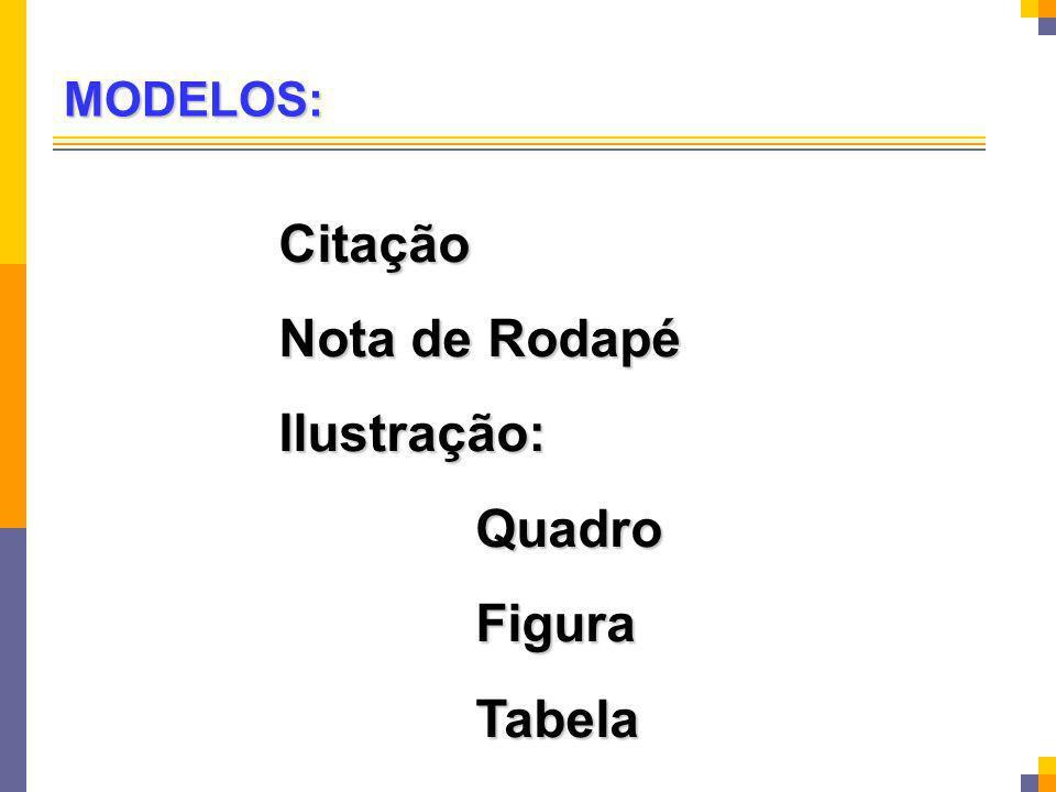 Citação Nota de Rodapé Ilustração: Quadro Figura Tabela MODELOS: