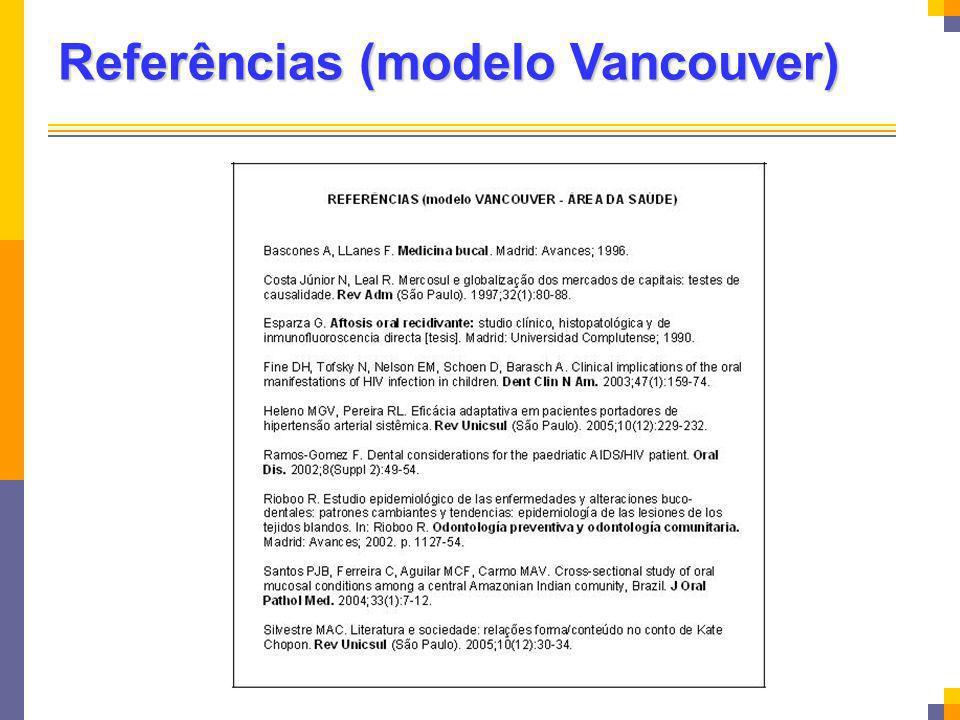 Referências (modelo Vancouver)