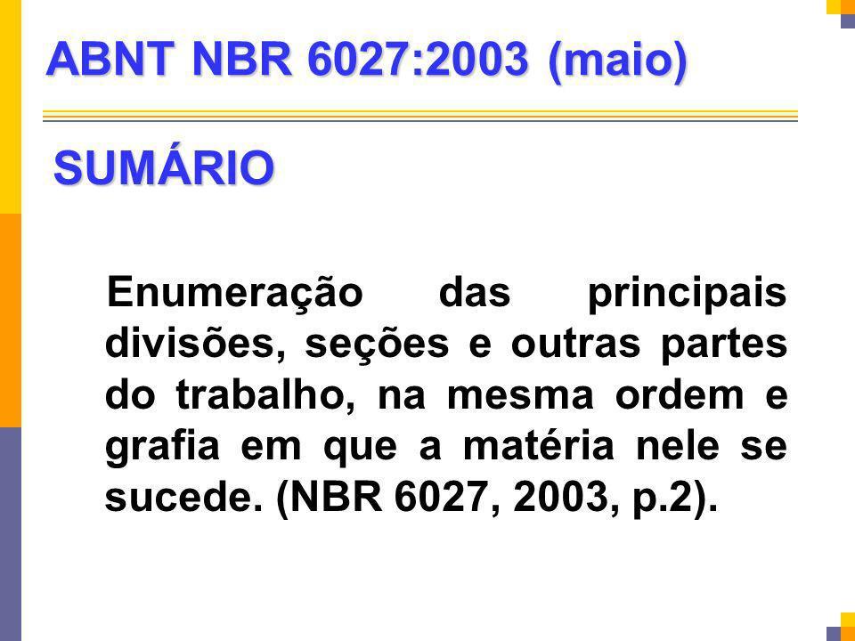 ABNT NBR 6027:2003 (maio) SUMÁRIO