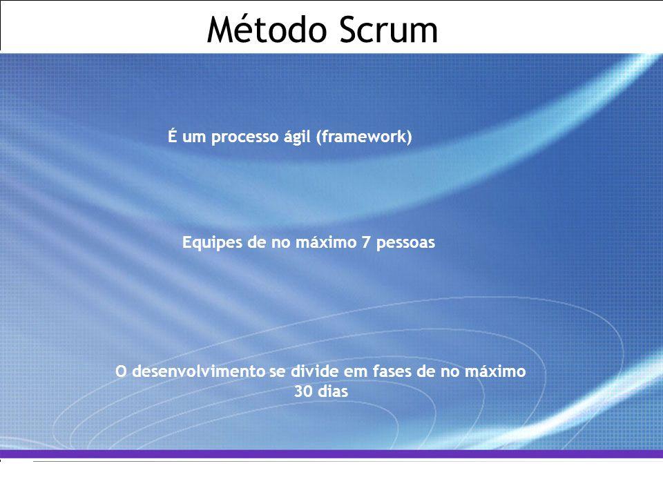 Método Scrum É um processo ágil (framework)