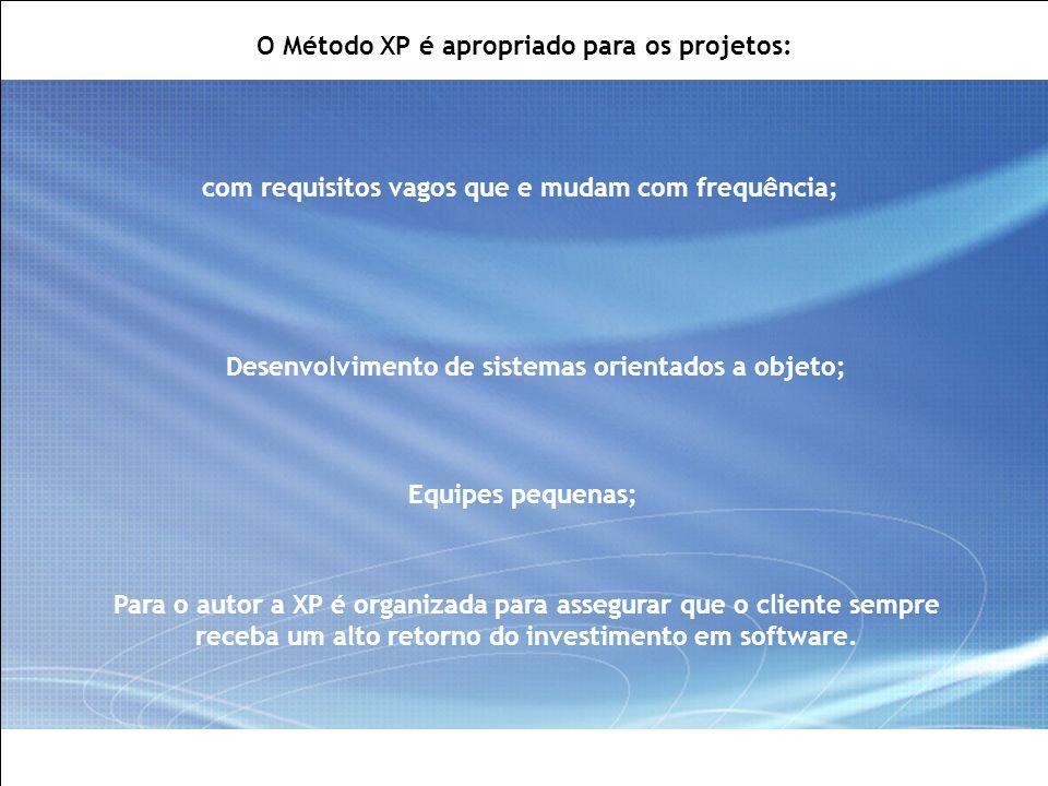 O Método XP é apropriado para os projetos: