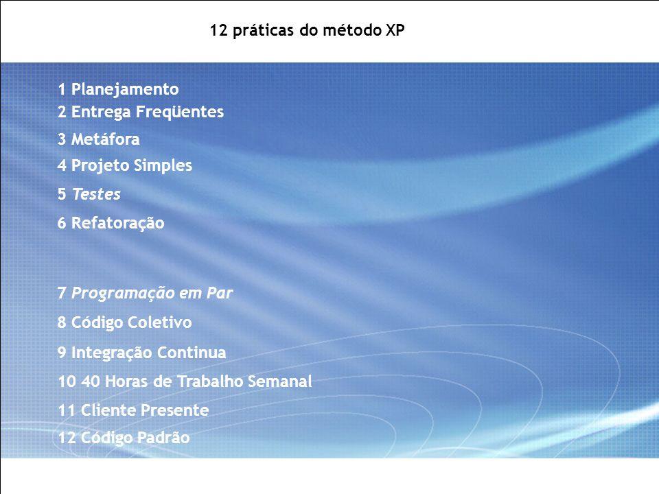 12 práticas do método XP 1 Planejamento. 2 Entrega Freqüentes. 3 Metáfora. 4 Projeto Simples. 5 Testes.