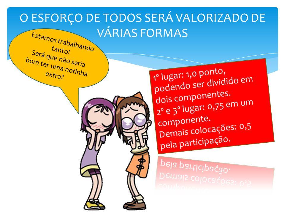 O ESFORÇO DE TODOS SERÁ VALORIZADO DE VÁRIAS FORMAS