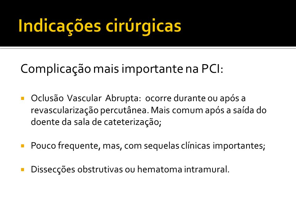 Indicações cirúrgicas