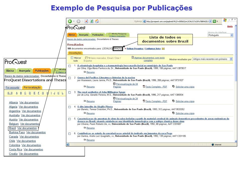 Exemplo de Pesquisa por Publicações