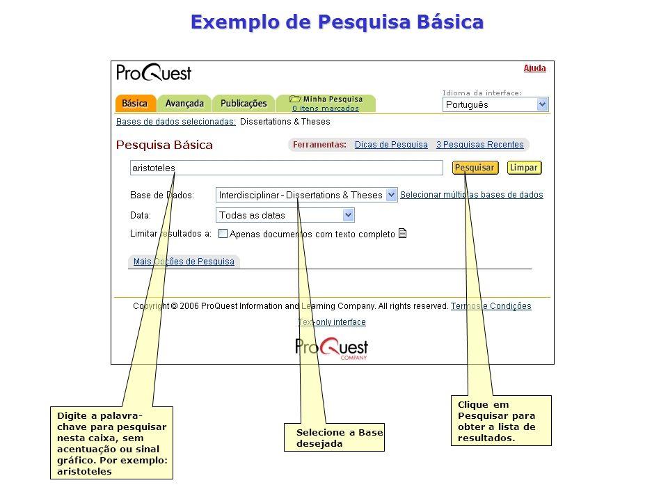 Exemplo de Pesquisa Básica