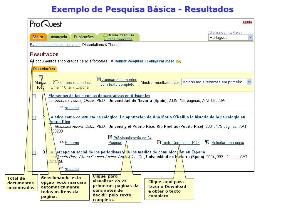 Exemplo de Pesquisa Básica - Resultados