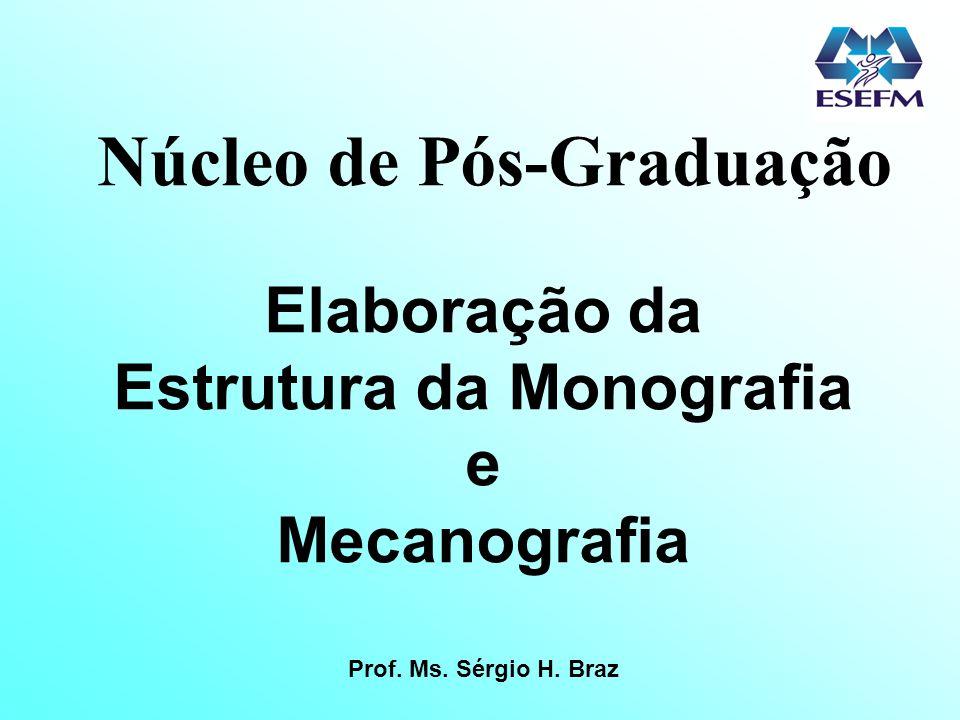 Núcleo de Pós-Graduação Estrutura da Monografia