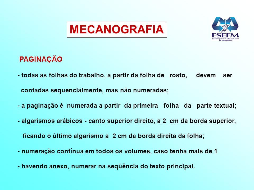 MECANOGRAFIA PAGINAÇÃO