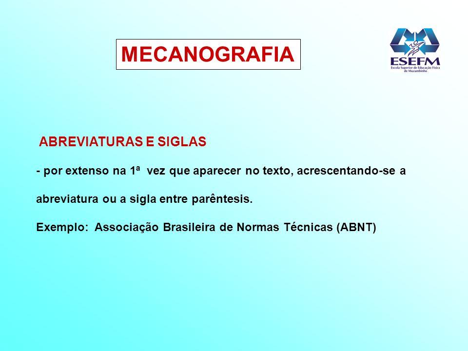 MECANOGRAFIA ABREVIATURAS E SIGLAS