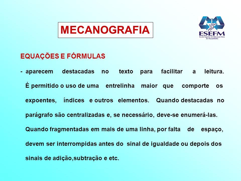 MECANOGRAFIA EQUAÇÕES E FÓRMULAS