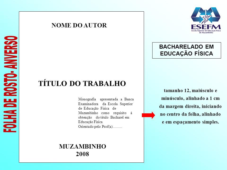 BACHARELADO EM EDUCAÇÃO FÍSICA