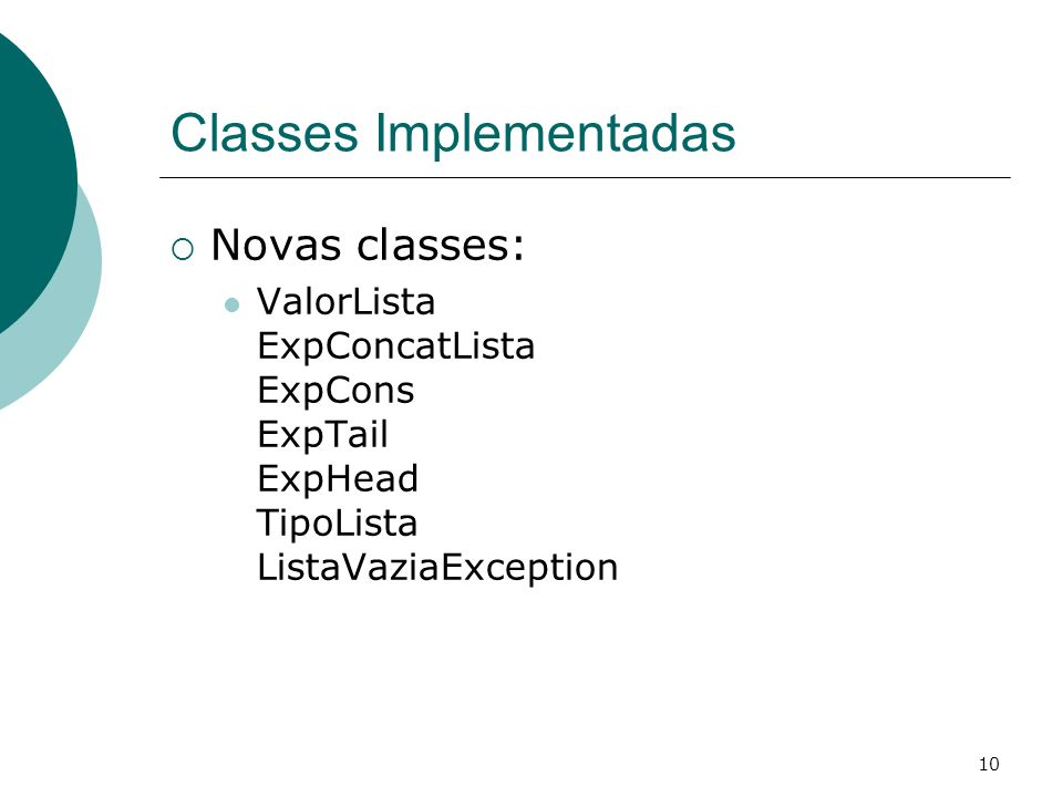 Classes Implementadas