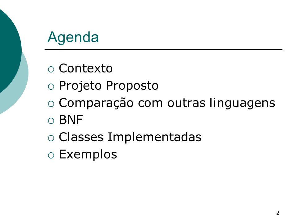 Agenda Contexto Projeto Proposto Comparação com outras linguagens BNF