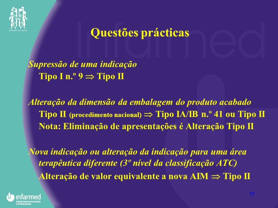 Questões prácticas Supressão de uma indicação Tipo I n.º 9  Tipo II