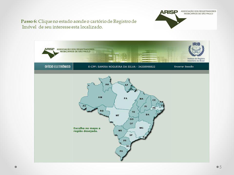 Passo 6: Clique no estado aonde o cartório de Registro de