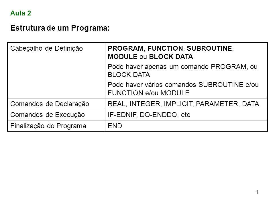Estrutura de um Programa: