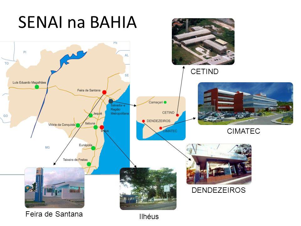 SENAI na BAHIA CETIND CIMATEC DENDEZEIROS Feira de Santana Ilhéus