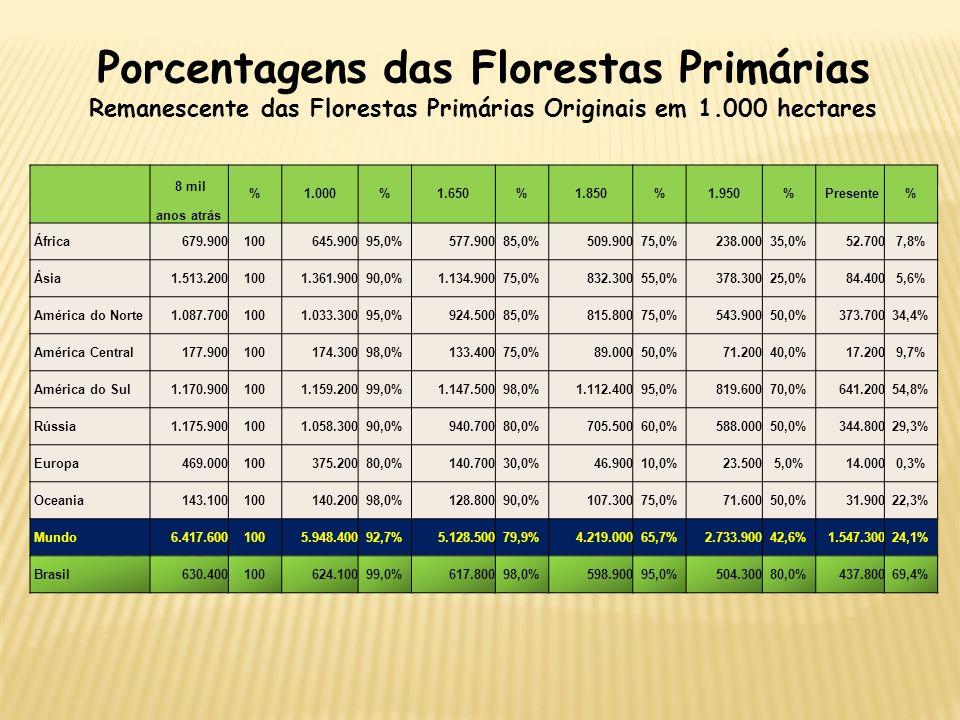 Porcentagens das Florestas Primárias