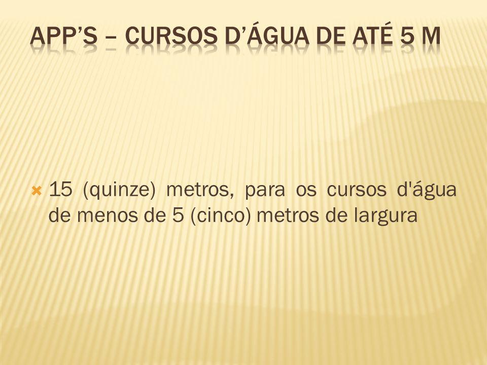 APP's – cursos d'água de até 5 m