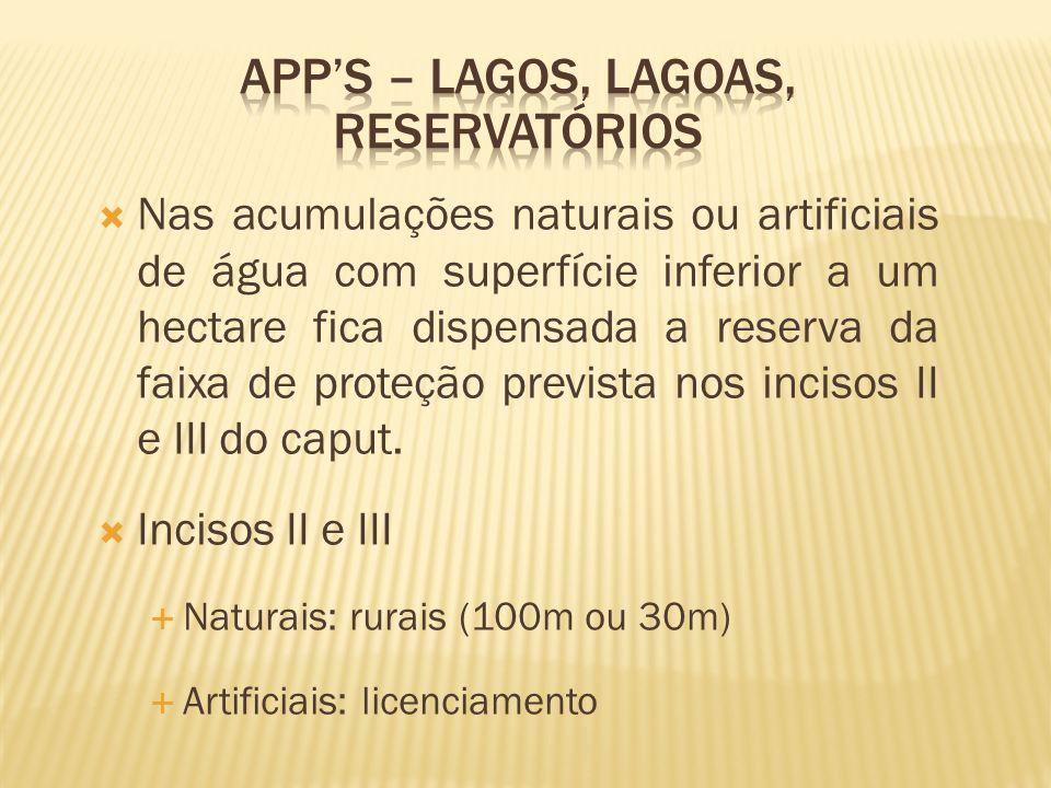 APP's – lagos, lagoas, reservatórios