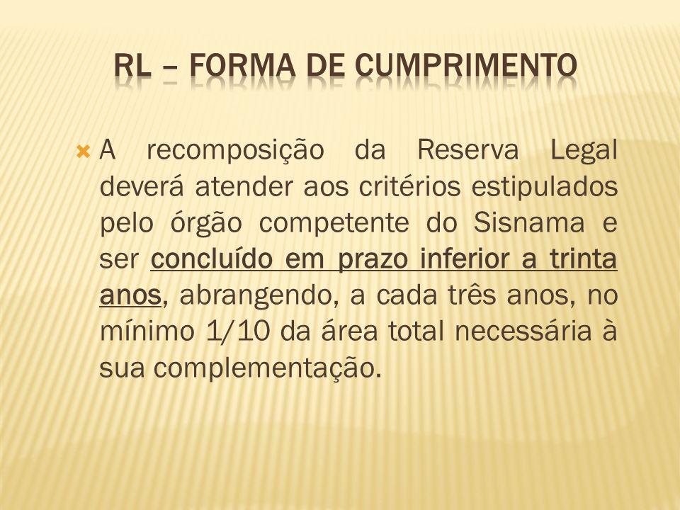 RL – forma de cumprimento