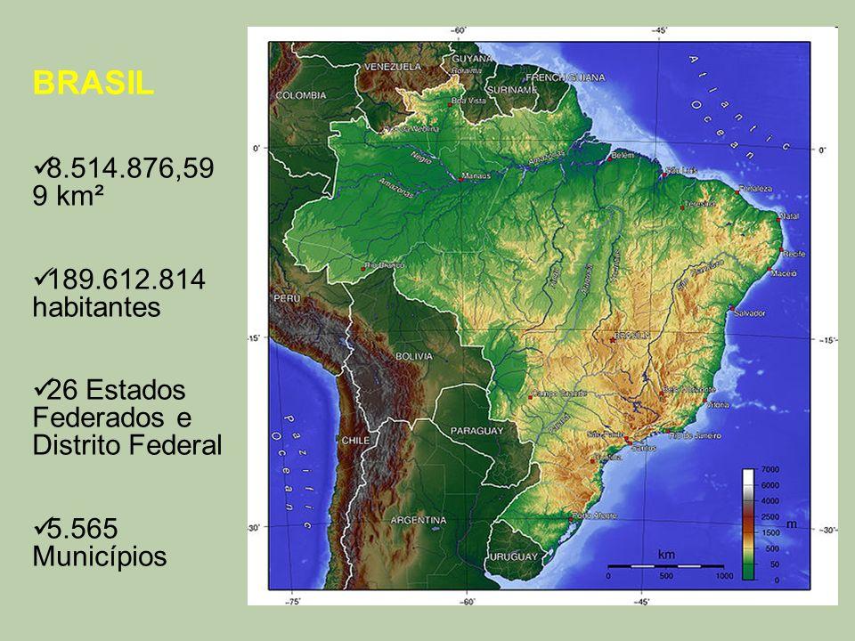 BRASIL 8.514.876,599 km². 189.612.814 habitantes.