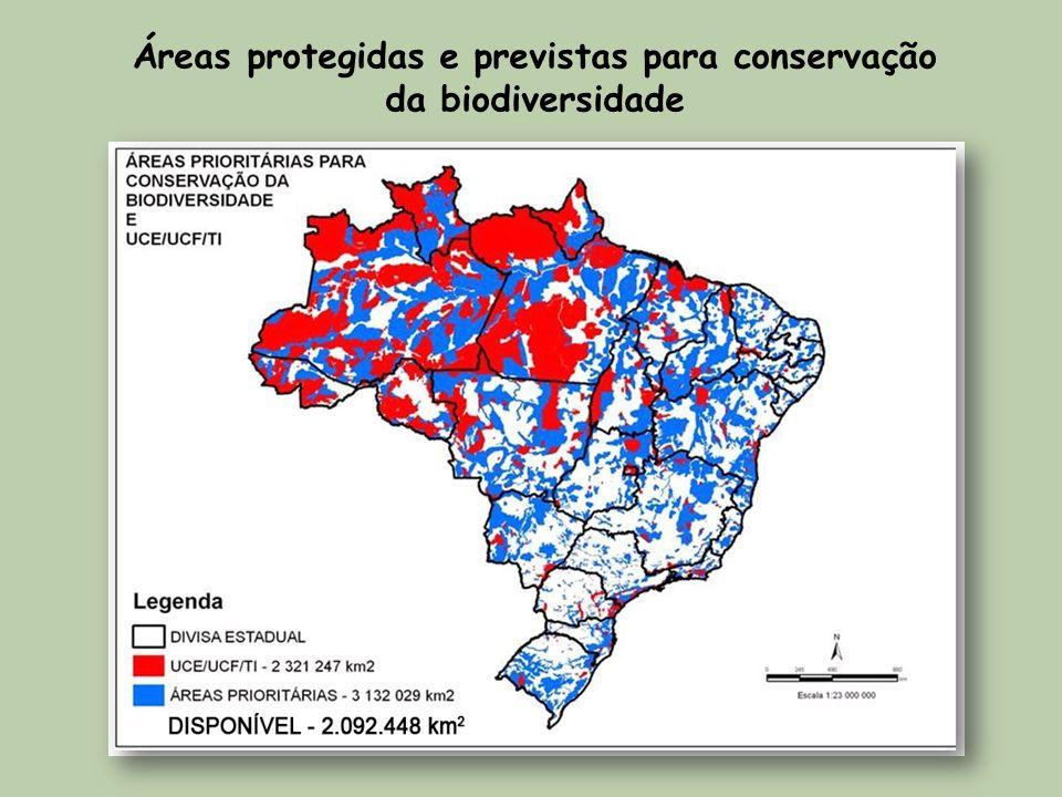 Áreas protegidas e previstas para conservação