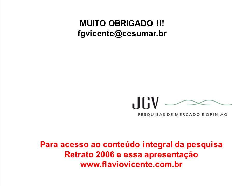 MUITO OBRIGADO !!! fgvicente@cesumar.br. Para acesso ao conteúdo integral da pesquisa Retrato 2006 e essa apresentação.