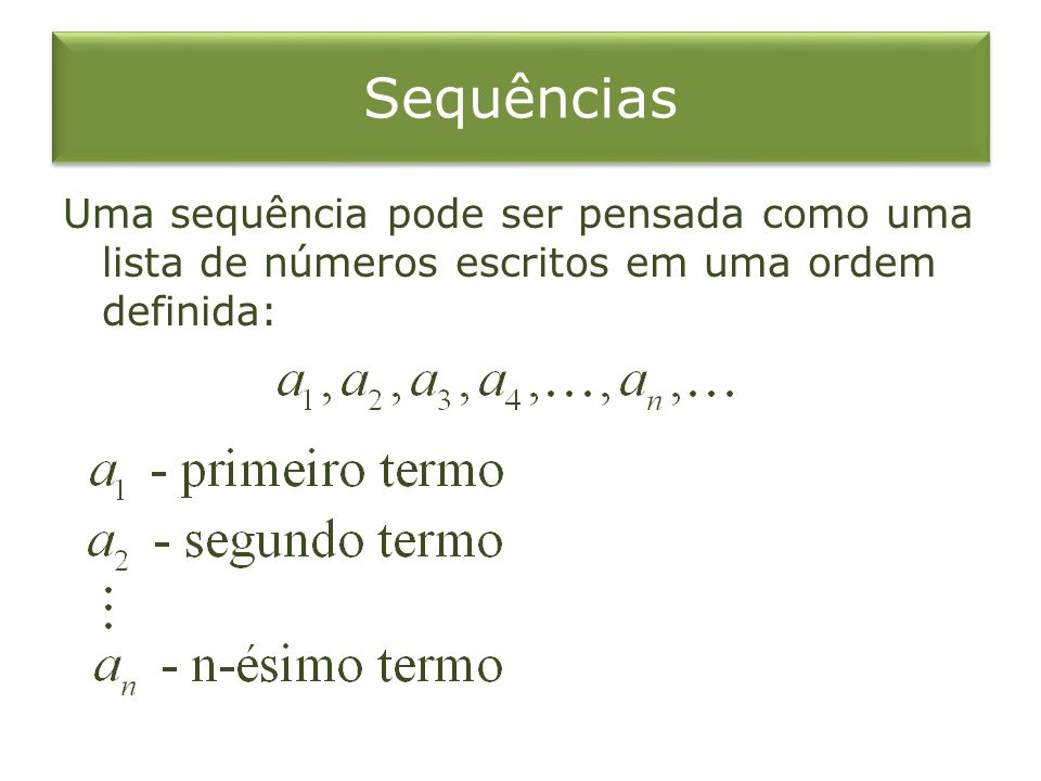 Sequências Uma sequência pode ser pensada como uma lista de números escritos em uma ordem definida: