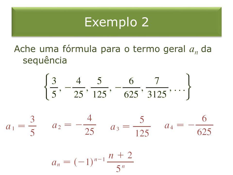 Exemplo 2 Ache uma fórmula para o termo geral an da sequência