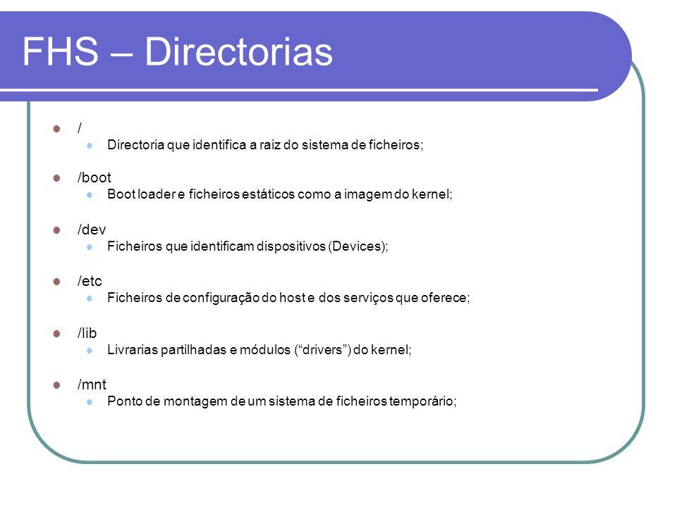 FHS – Directorias / /boot /dev /etc /lib /mnt