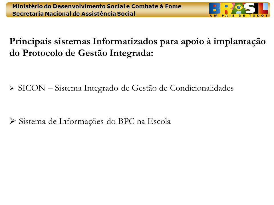 Principais sistemas Informatizados para apoio à implantação do Protocolo de Gestão Integrada: