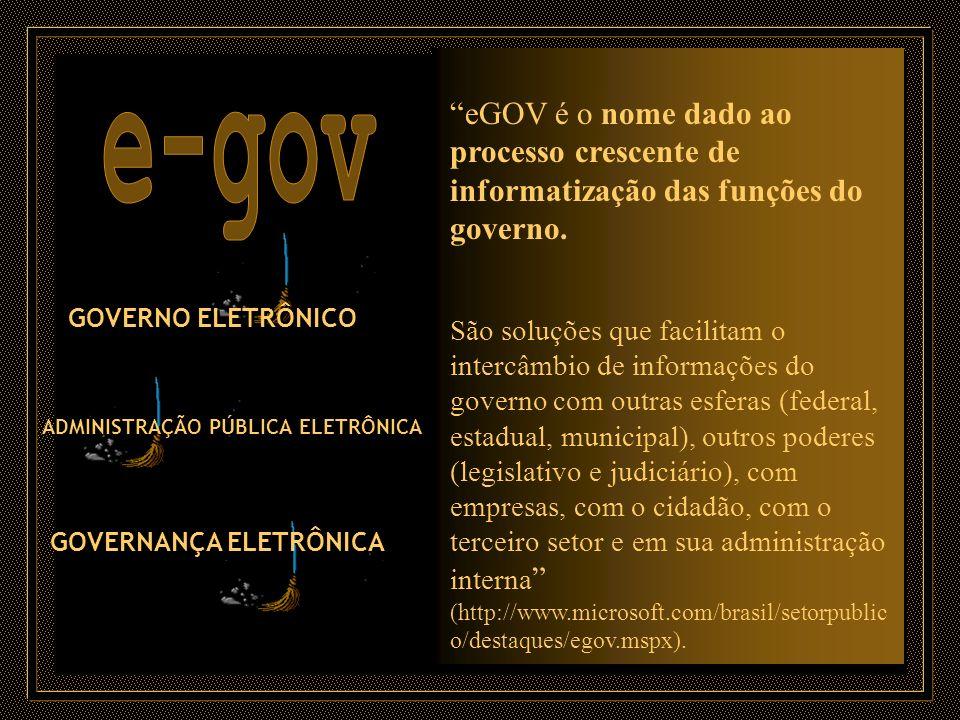 eGOV é o nome dado ao processo crescente de informatização das funções do governo.
