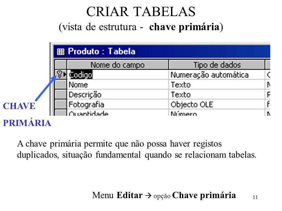CRIAR TABELAS (vista de estrutura - chave primária)